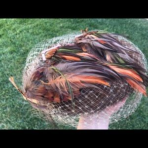 Vintage Feather Head Piece w/ Matching Fur Band